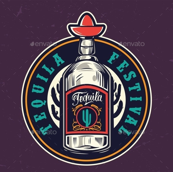 Mexican Tequila Festival Colorful Round Label - Miscellaneous Vectors