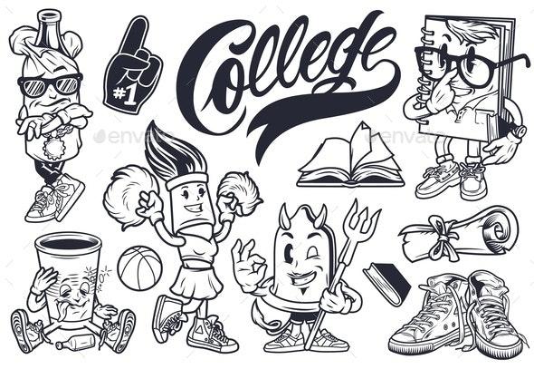 Vintage College Characters Set - Miscellaneous Vectors
