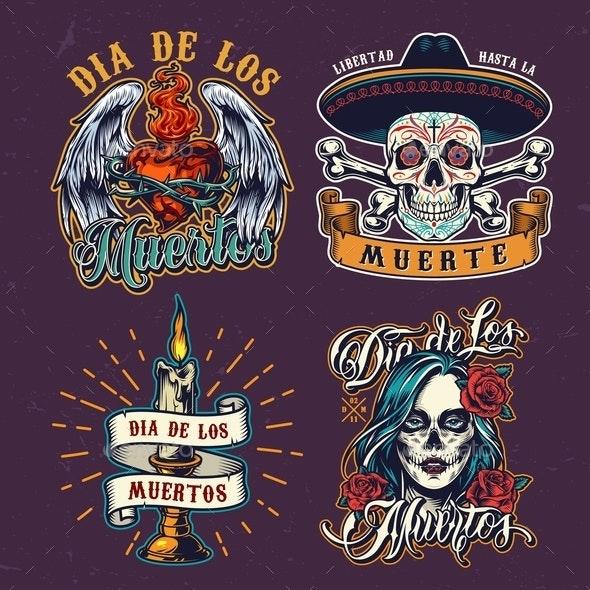 Dia De Los Muertos Colorful Labels - Miscellaneous Vectors