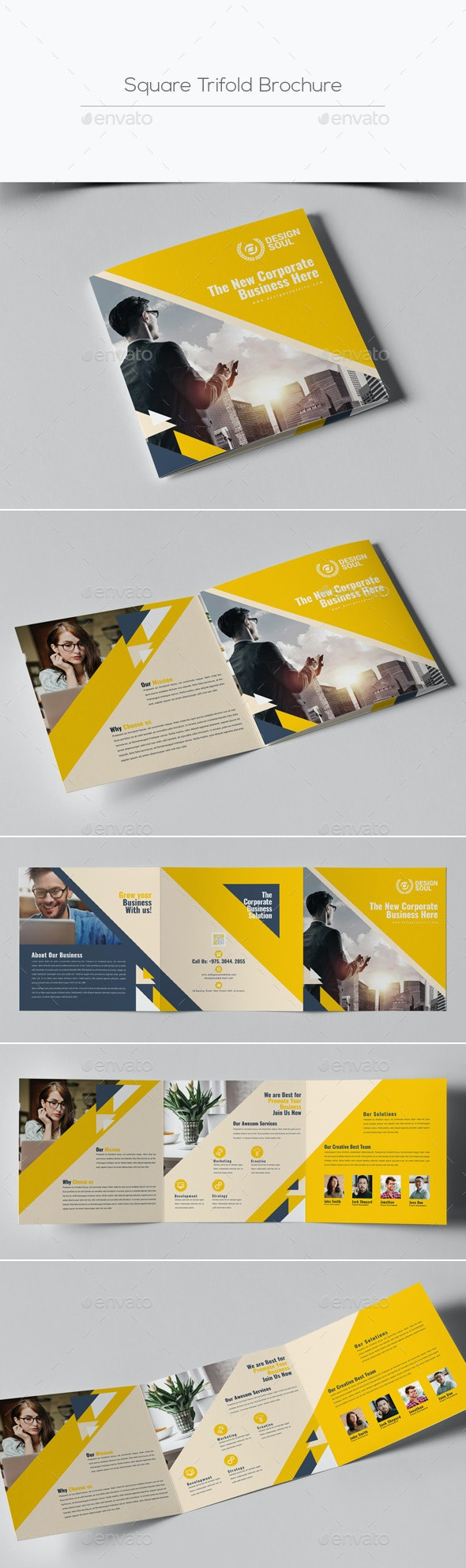 Corporate Square Trifold Brochure - Brochures Print Templates