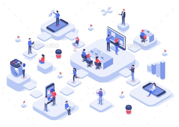 Isometric Work Team Cloud Workplaces Platforms - Concepts Business