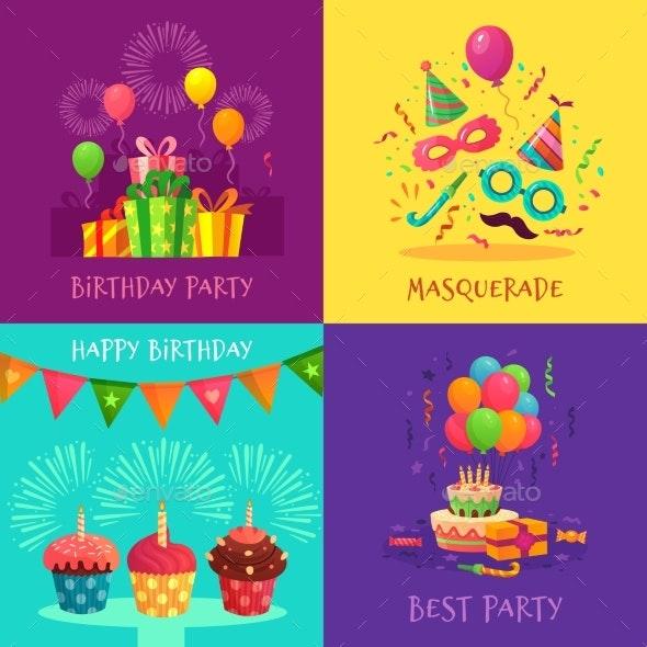 Cartoon Party Invitation Cards Celebration