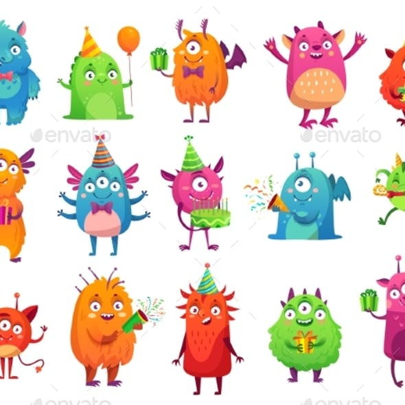 Cartoon Party Monsters