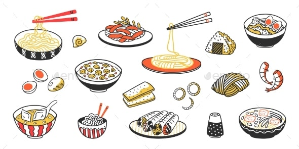 Doodle Asian Food - Food Objects