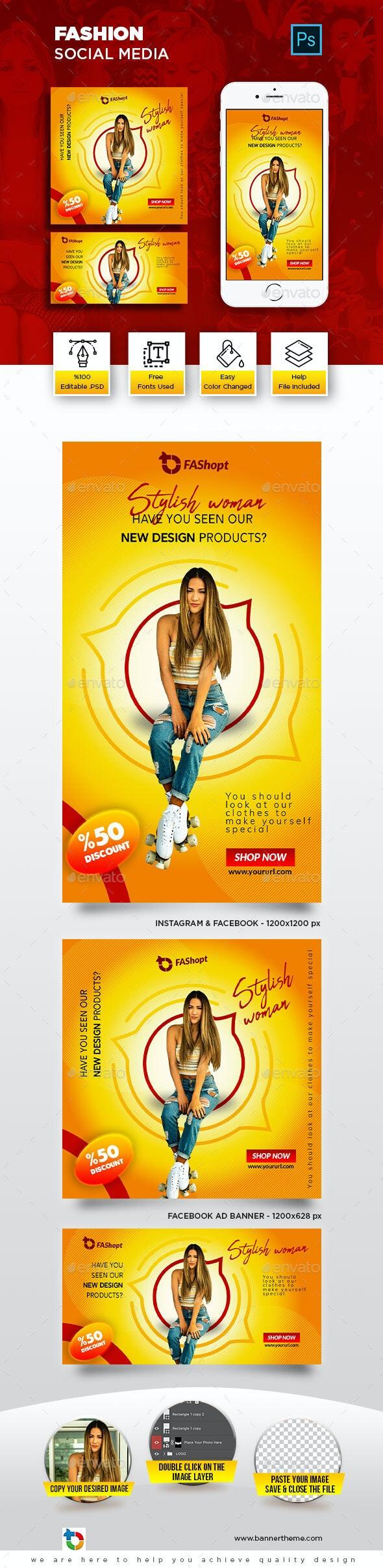Fashion Social Media Banner - Social Media Web Elements