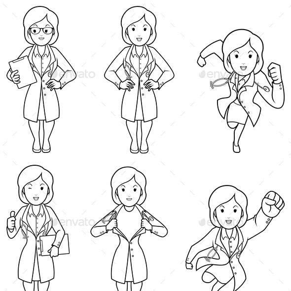 Doctor Female Line Art