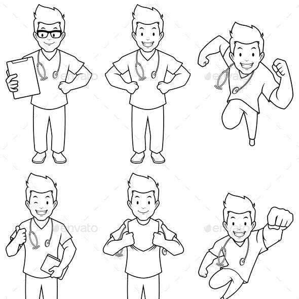 Nurse Male Line Art