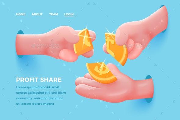 Vector Cartoon Realistic Hands Share Golden Dollar - Concepts Business