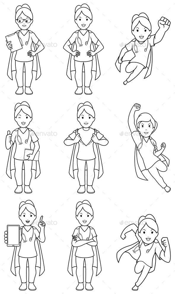 Super Nurse Female Line Art - Health/Medicine Conceptual