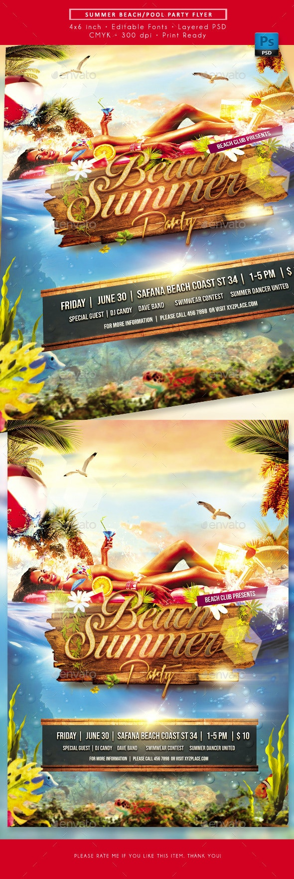 Summer Beach Poll Party Event Flyer - Clubs & Parties Events