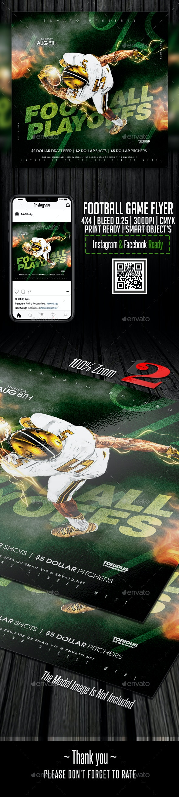 FootBall Game Flyer Template - Clubs & Parties Events