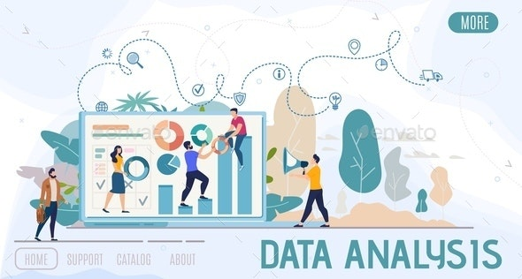 Business Data Analysis Flat Vector Web Banner - Concepts Business