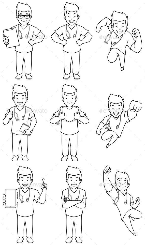 Nurse Asian Male Line Art - Health/Medicine Conceptual