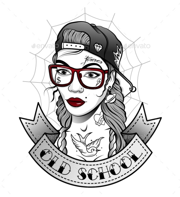 Girl in a Cap with Tattoos in the Old Style - Miscellaneous Vectors