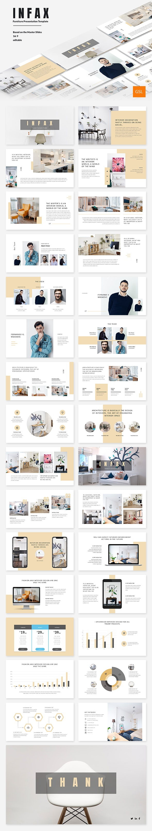 Infax - Furniture Google Slides Template - Google Slides Presentation Templates
