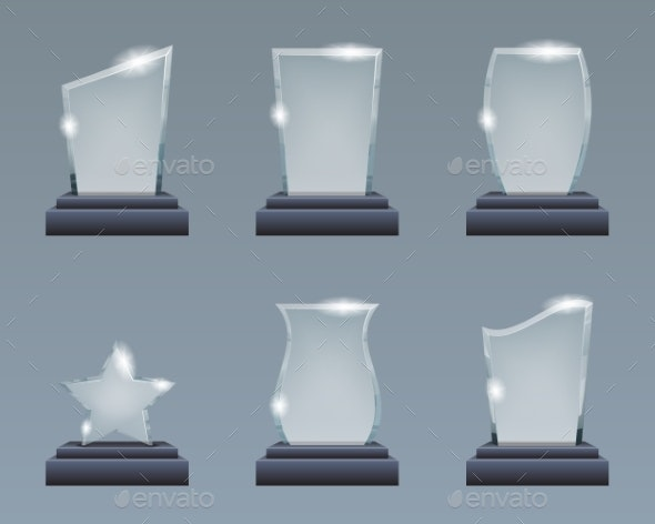 Blank Glass Trophy Award Realistic Decoration