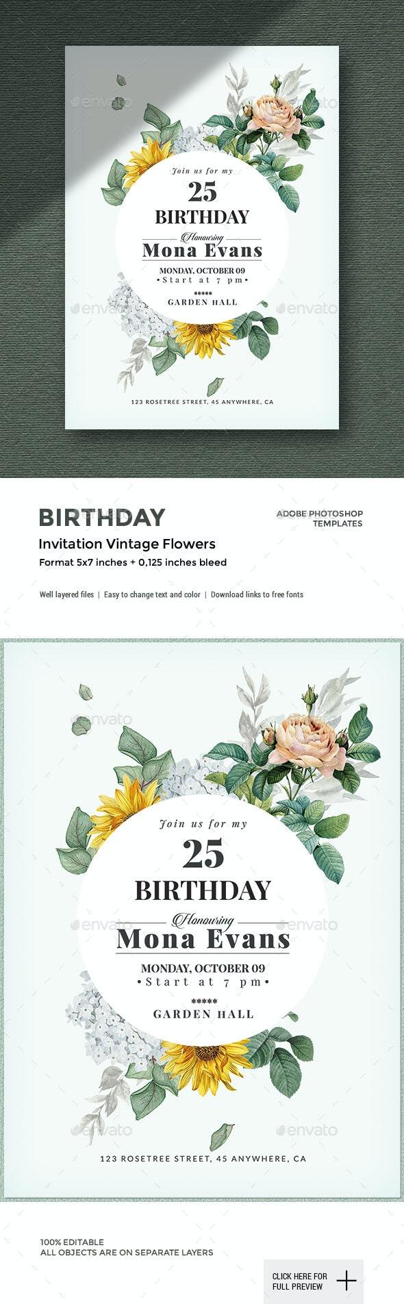 Vintage Flowers - Birthday Invitation - Cards & Invites Print Templates