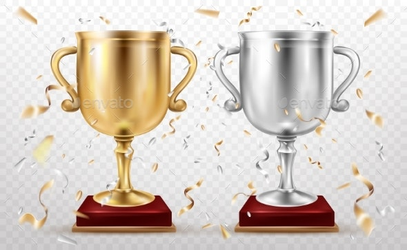 Gold and Silver Cups, Sport Trophy, Goblets Glory - Sports/Activity Conceptual