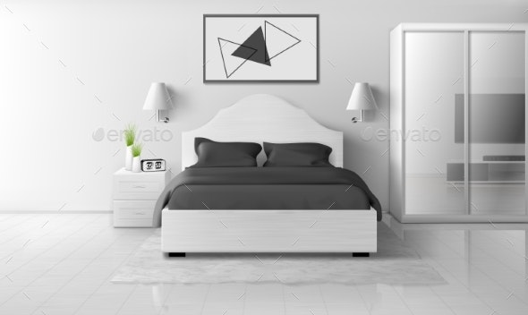 Bedroom Interior in Monochrome Colors, Modern Home - Buildings Objects
