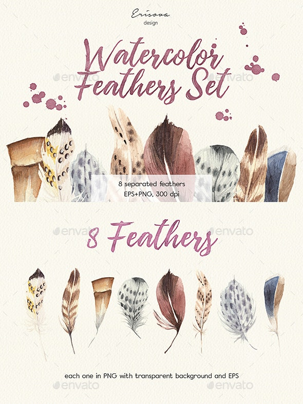 Watercolor Feathers Set - Objects Illustrations