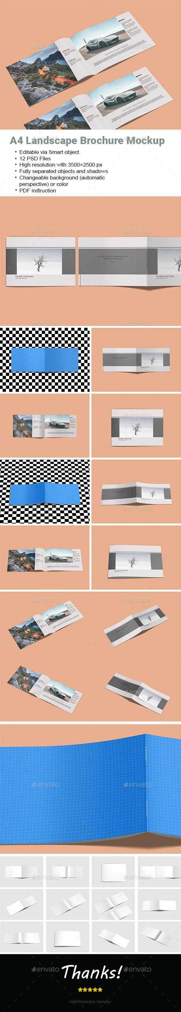 A4 Landscape Brochure Mock-Up - Brochures Print