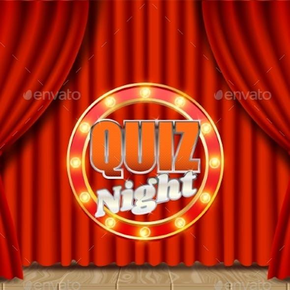 Quiz Night Retro Vector Banner Poster Design