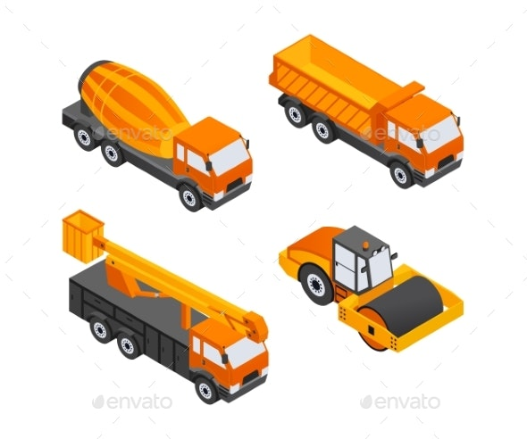 Construction Vehicles - Modern Vector Isometric - Industries Business
