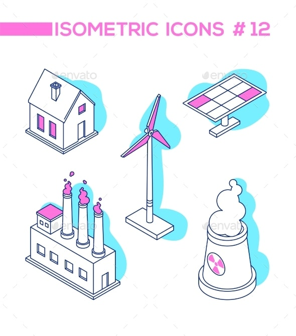 Ecology Concept - Line Design Style Isometric - Buildings Objects
