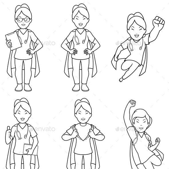 Super Nurse Asian Female Line Art