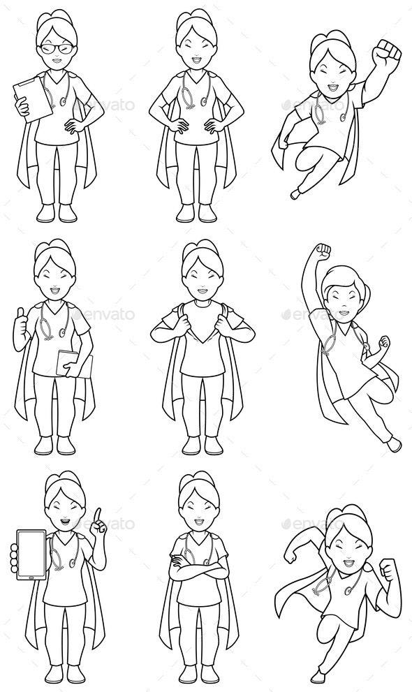 Super Nurse Asian Female Line Art - Health/Medicine Conceptual