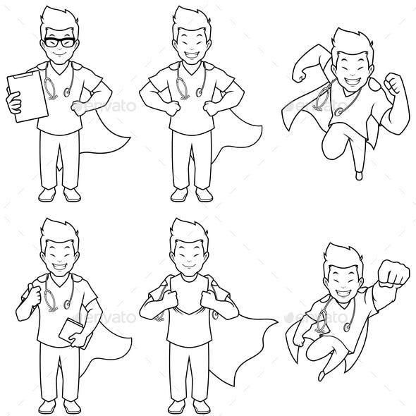 Super Nurse Asian Male Line Art