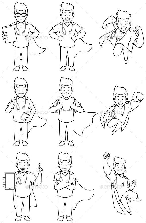 Super Nurse Asian Male Line Art - Health/Medicine Conceptual