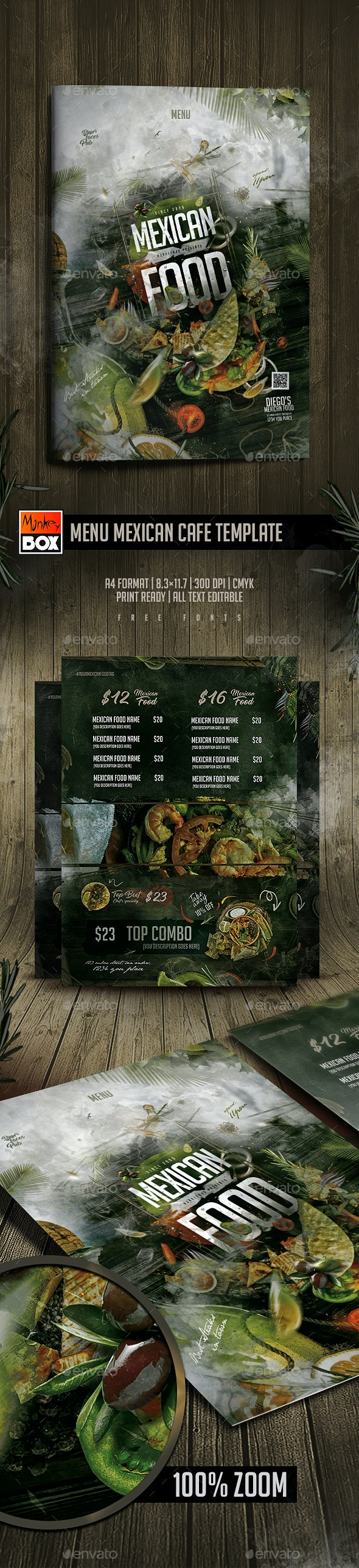 Menu Mexican Cafe Template - Food Menus Print Templates