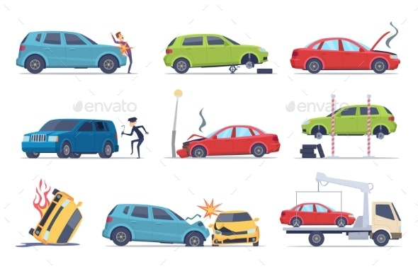 Accident on Road Car Damaged Vehicle Insurance - Man-made Objects Objects