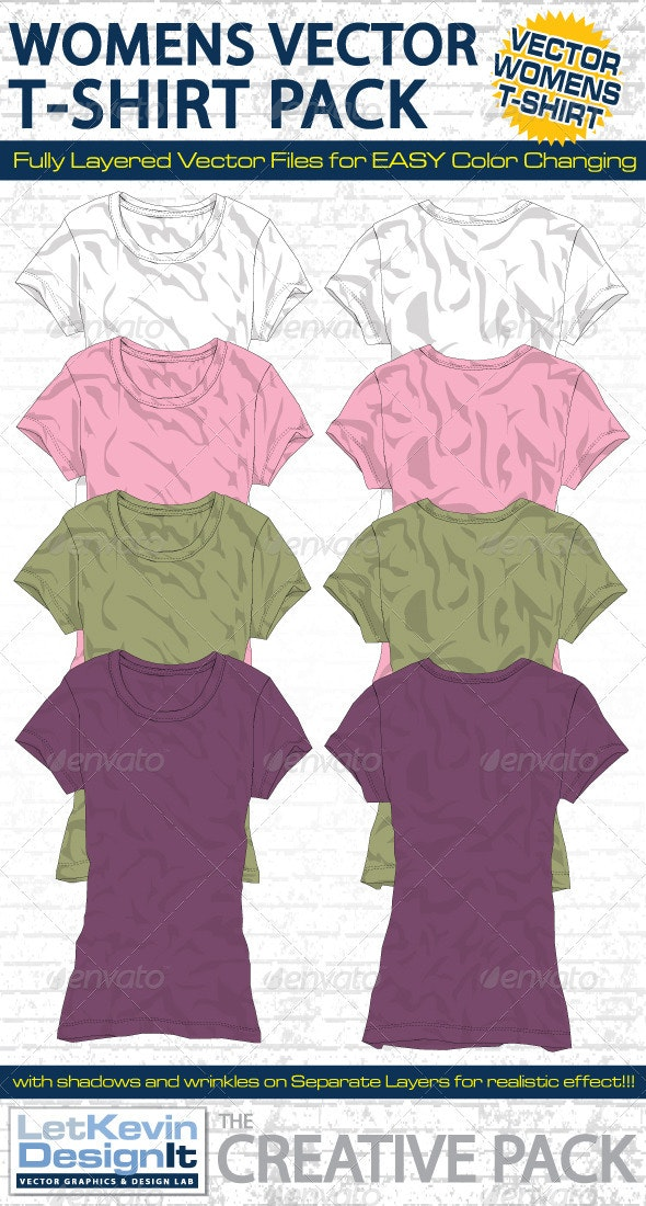 Womens T-Shirt Vector Mock-Ups - Template - Retail Commercial / Shopping