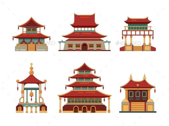 Traditional Buildings Japan and China Cultural - Buildings Objects