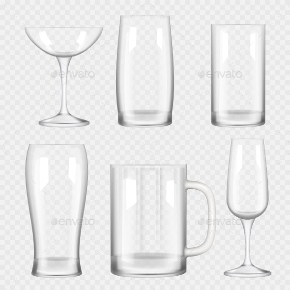 Transparent Glass Cups - Man-made Objects Objects