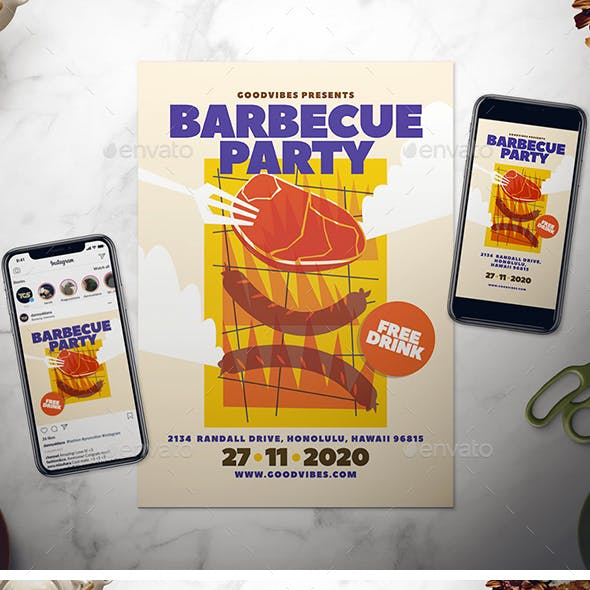 Barbecue Party Flyer Set