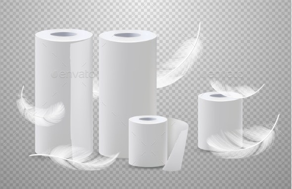 Realistic Vector Toilete Paper and Paper Towels - Man-made Objects Objects