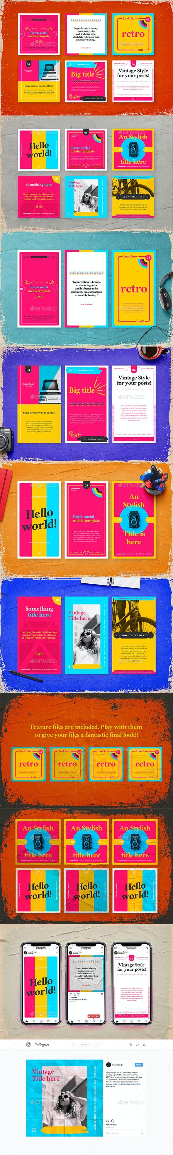 Retro Social Media Pack Template - Social Media Web Elements