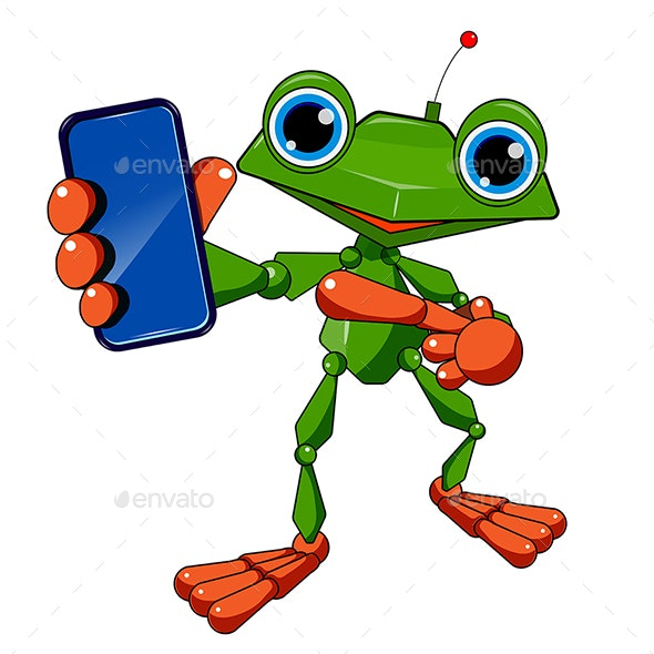 Stock Illustration Robot Frog and Smartphone - Animals Characters