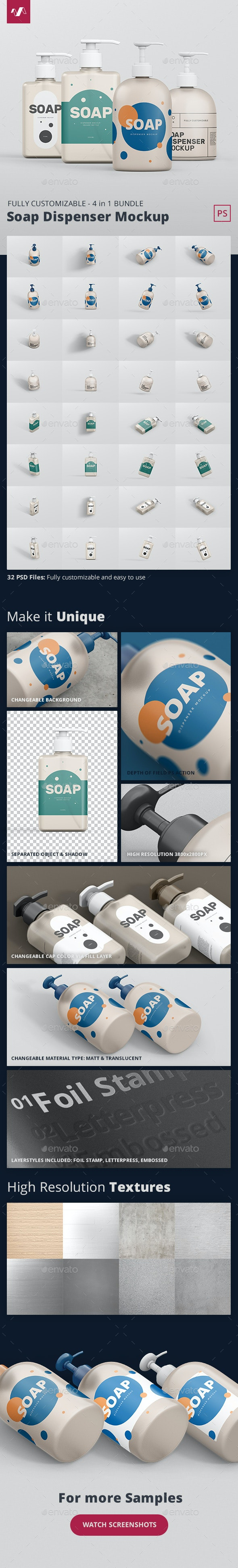 Soap Dispenser Mockup Bundle - Miscellaneous Packaging