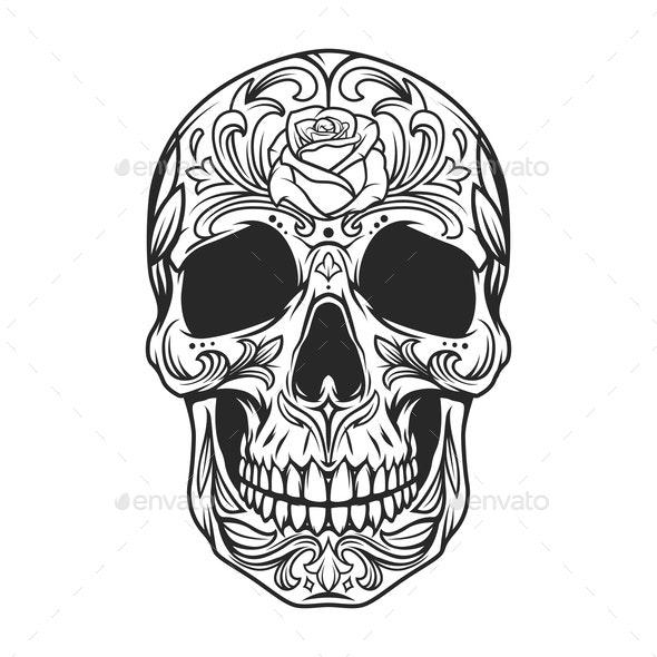 Vintage Monochrome Sugar Skull - Miscellaneous Vectors