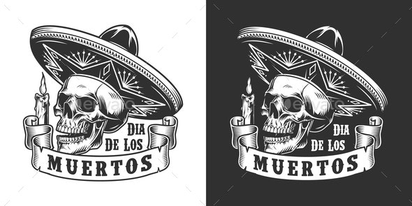 Dia De Los Muertos Monochrome Label - Miscellaneous Vectors