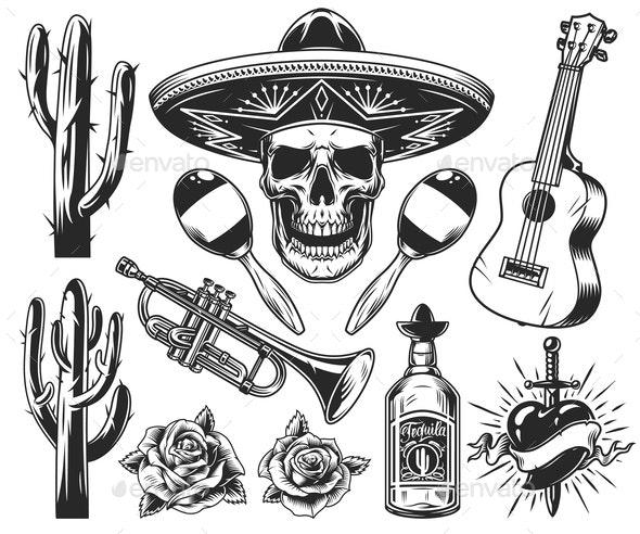 Vintage Day of Dead Elements Set - Miscellaneous Vectors