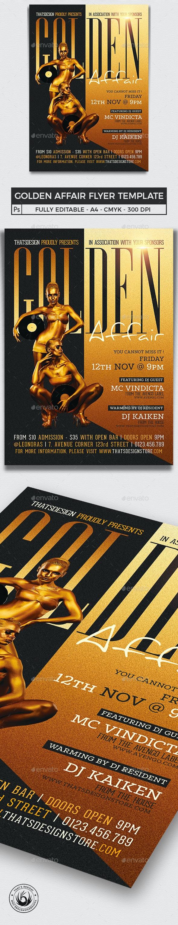 Golden Affair Flyer Template - Clubs & Parties Events