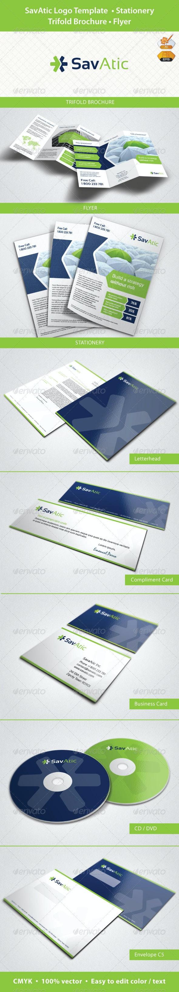 SavAtic Logo, Stationery, Trifold Brochure, Flyer - Stationery Print Templates