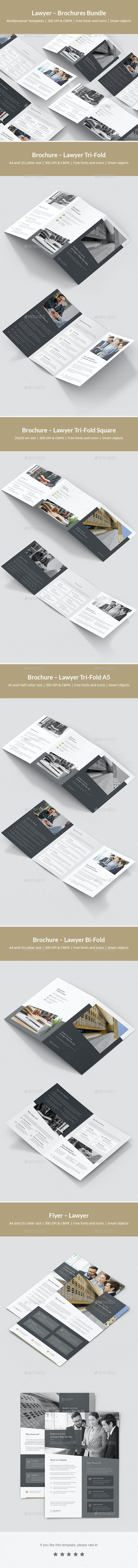 Lawyer – Brochures Bundle Print Templates 5 in 1 - Corporate Brochures