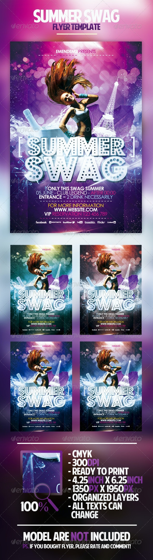 Summer Swag Flyer Template - Clubs & Parties Events
