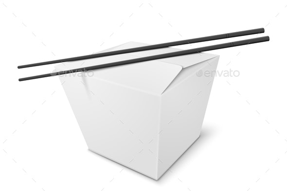 Vector 3d Realistic Box With Chinese Food, Sticks - Food Objects